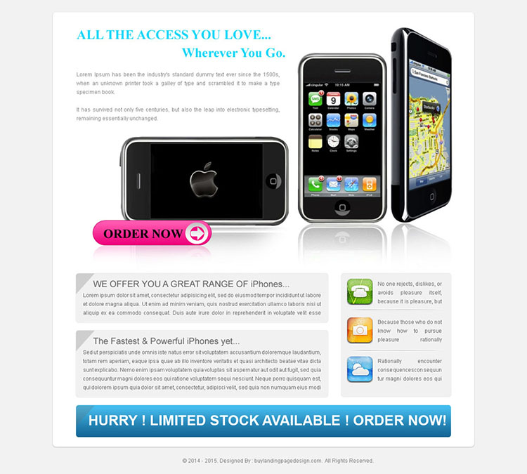 product review landing page design templates for iphone
