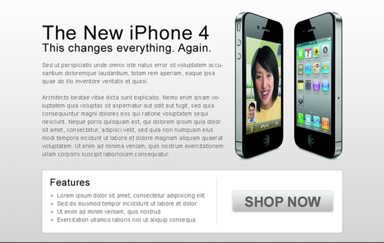 clean and effective i-phone 4 buy now ppv landing page design