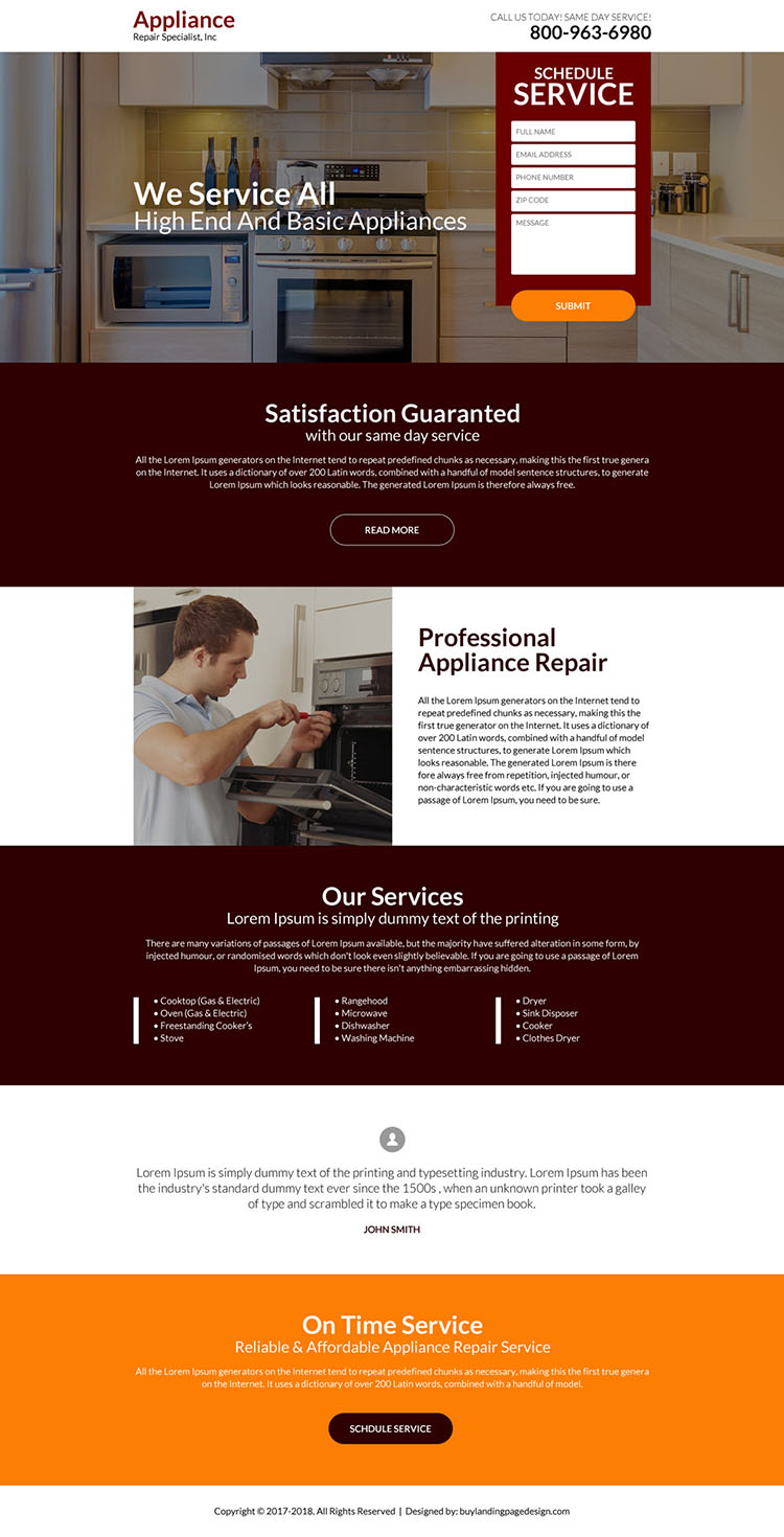 professional appliance repair landing page design