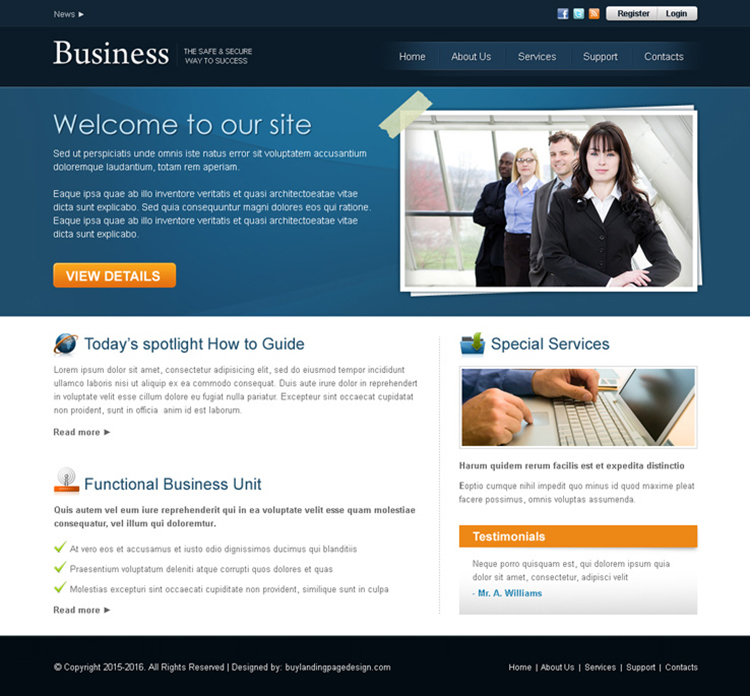professional business website template design psd for sale