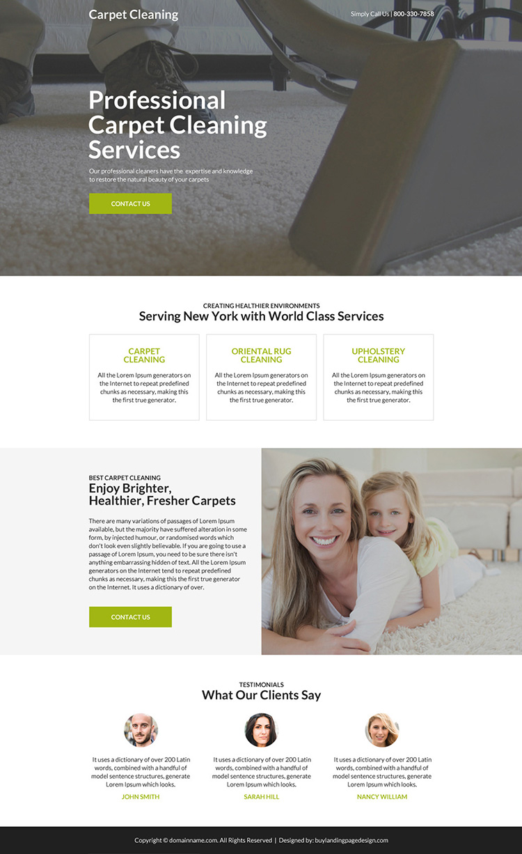 professional carpet cleaning service landing page design