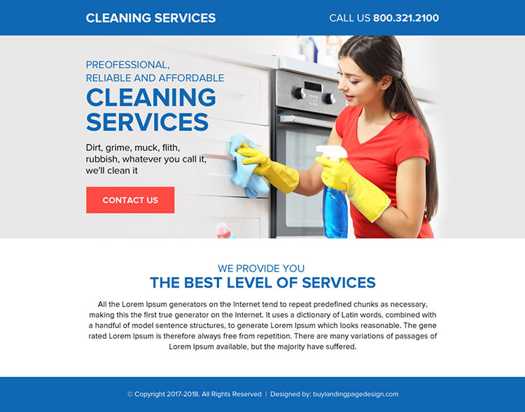 professional cleaning services ppv landing page design