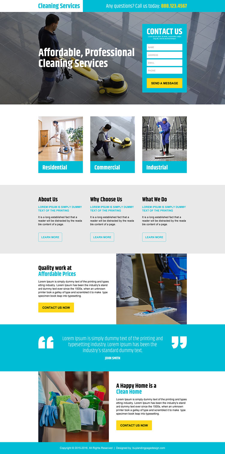 professional cleaning services lead generating landing page design template