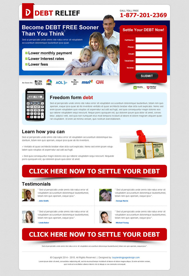 become debt free sooner most effective attractive and converting lead gen debt landing page