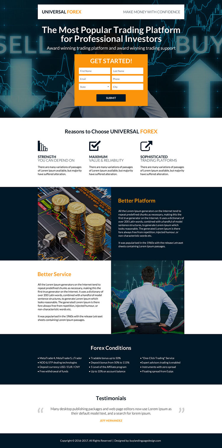 professional forex trading strategies landing page design