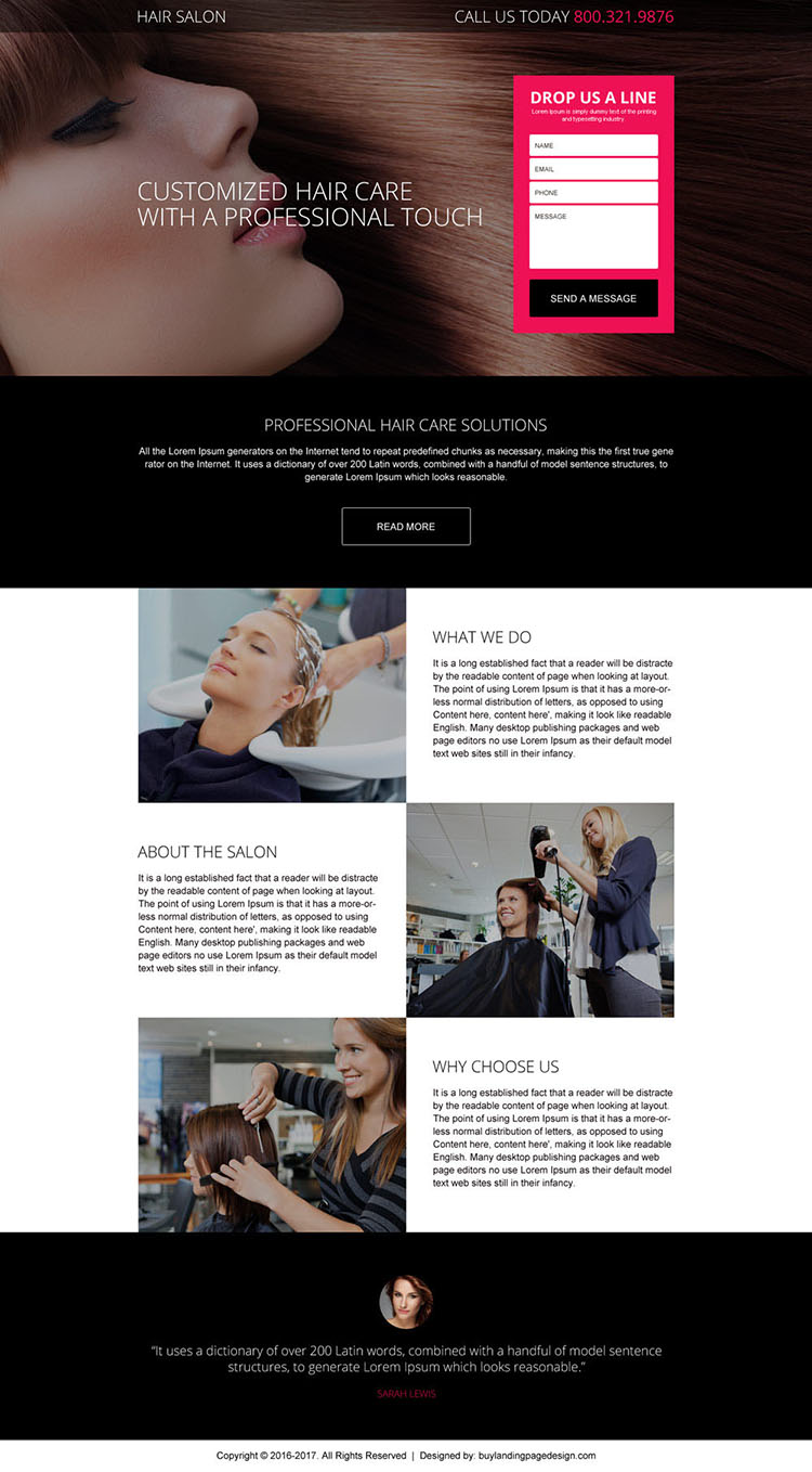 professional hair salon service landing page design
