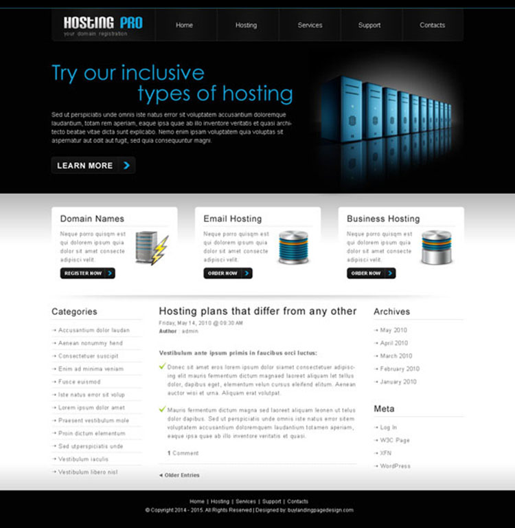 professional web hosting website template design psd