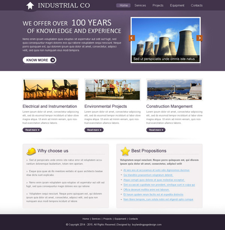 professional and informative industrial design psd for creating website