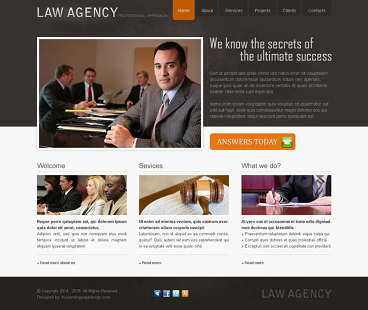 professional and clean law agency website template design psd
