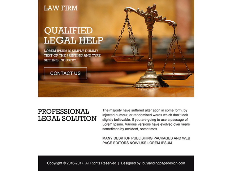 professional legal solutions ppv landing page design