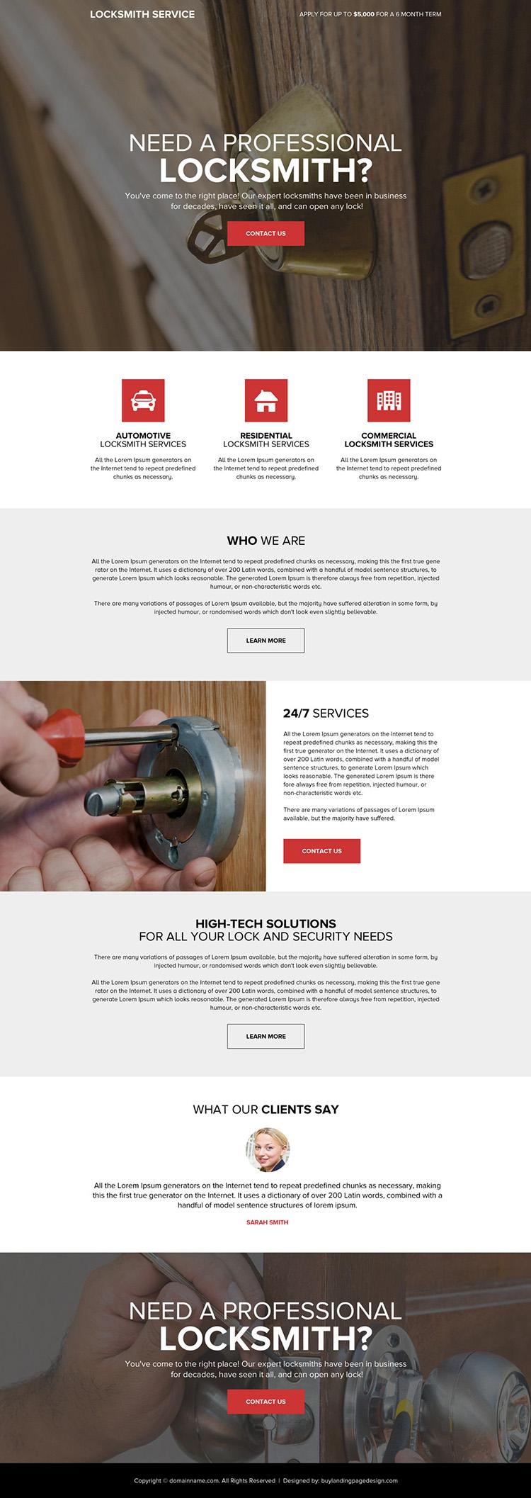 professional locksmith service responsive landing page design