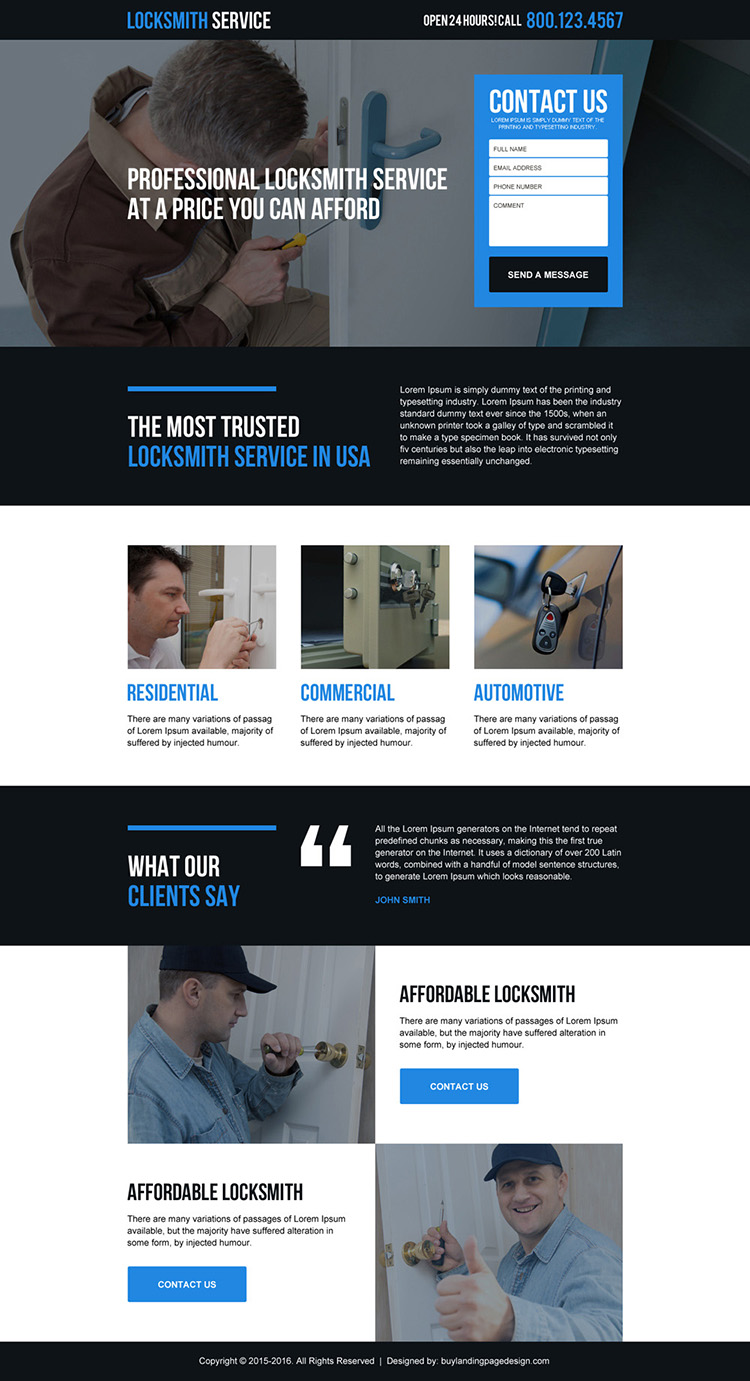 professional locksmith service in USA responsive landing page