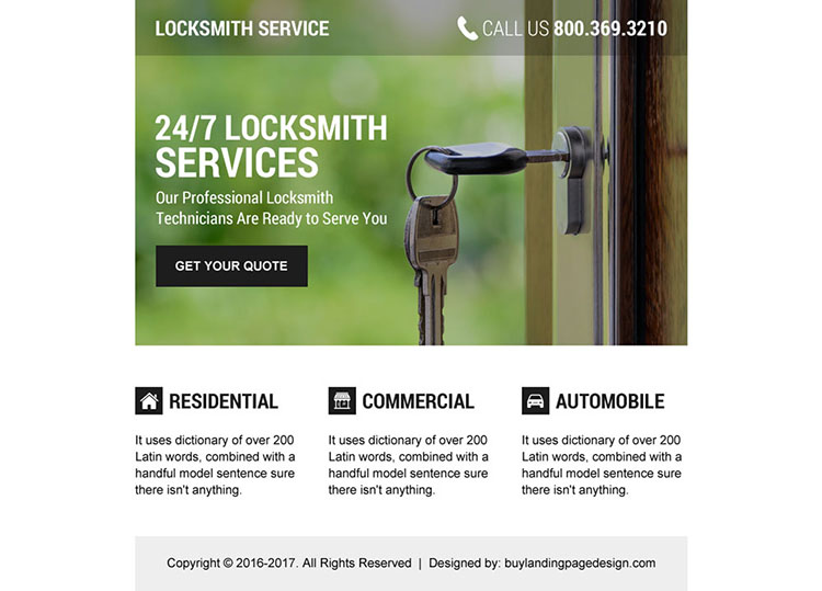 professional locksmith technicians ppv landing page design