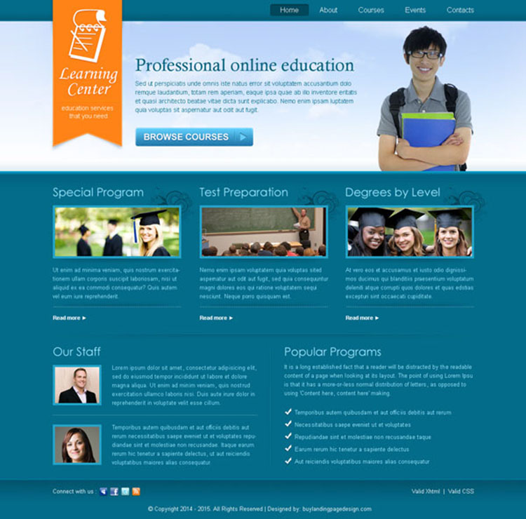professional online education service website template design PSD
