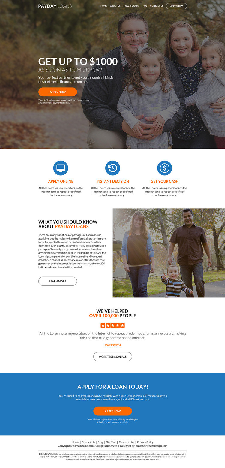 professional payday loan responsive website design