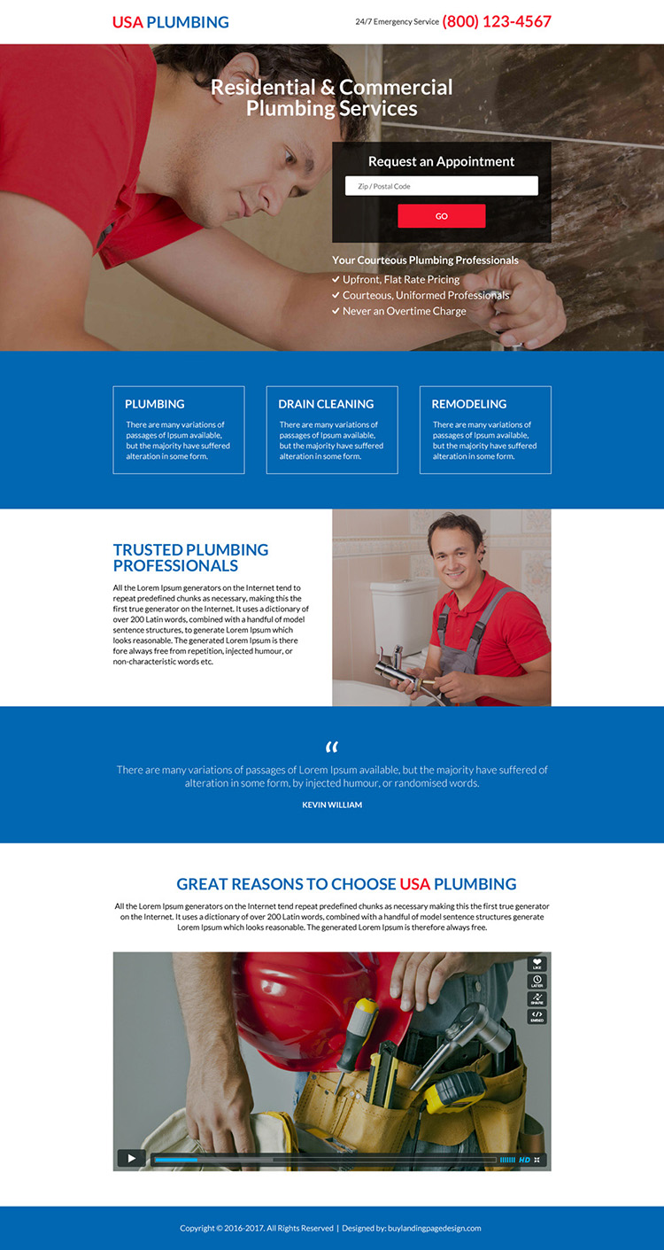 responsive residential and commercial plumbing service landing page