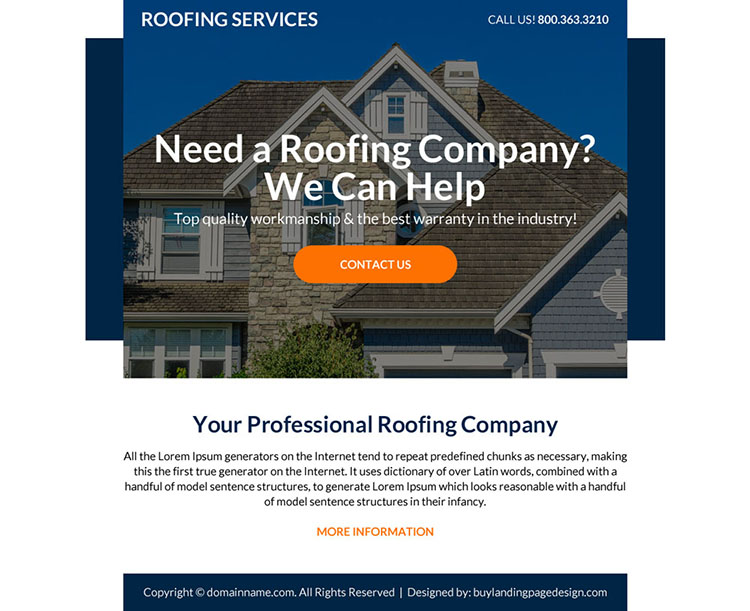 professional roofing services ppv landing page