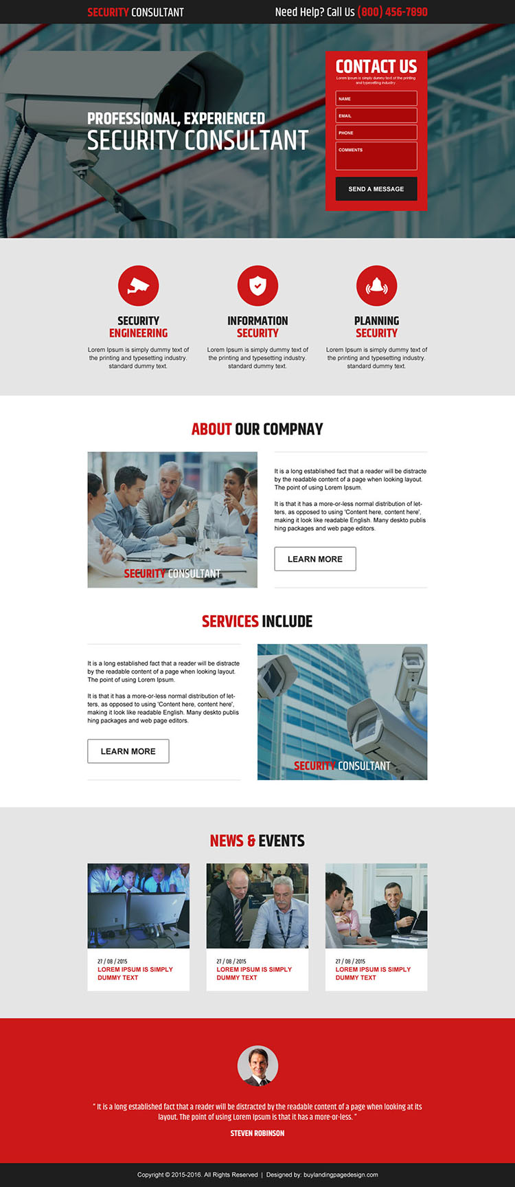 professional security consultant lead gen landing page design