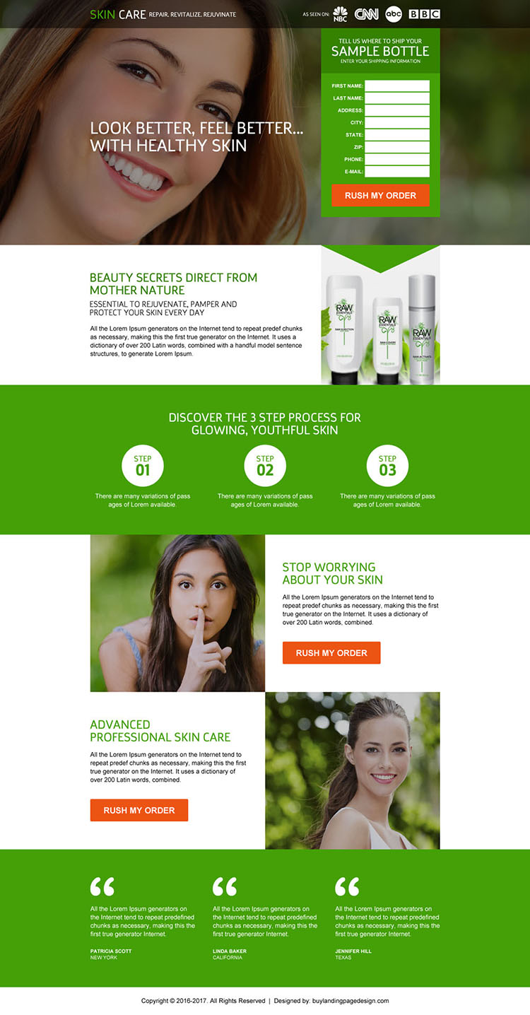 responsive skin care trial lead capturing landing page
