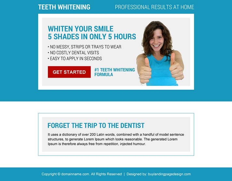 teeth whitening formula ppv landing page design