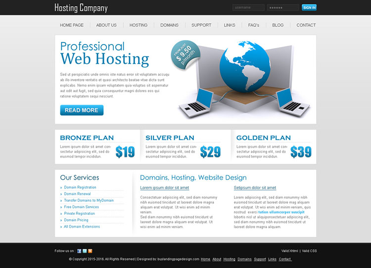 professional web hosting website psd for sale