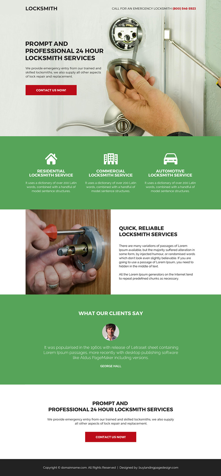 professional locksmith service bootstrap landing page