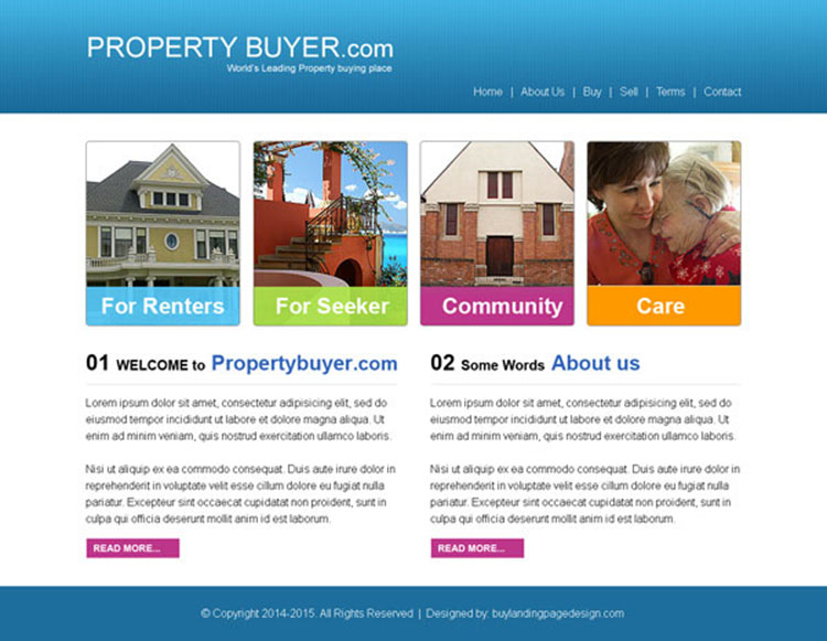 property buyer simple website template design psd