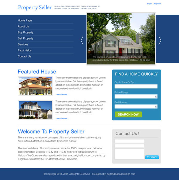 property seller clean and effective website template design psd