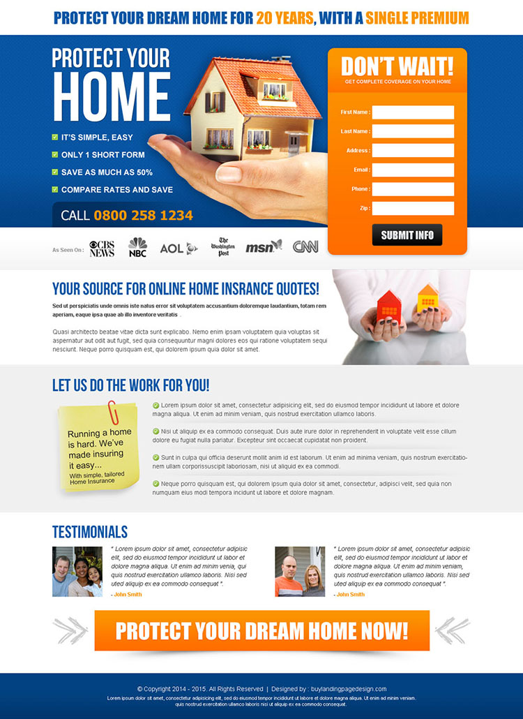 highest converting online home insurance quotes effective lead capture squeeze page design