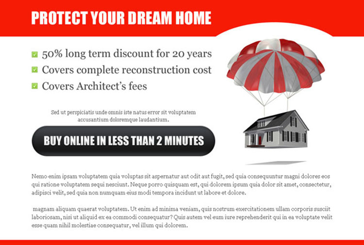 protect your dream home highly optimized home insurance ppv landing page design
