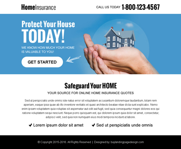 protect your home with insurance ppv landing page design