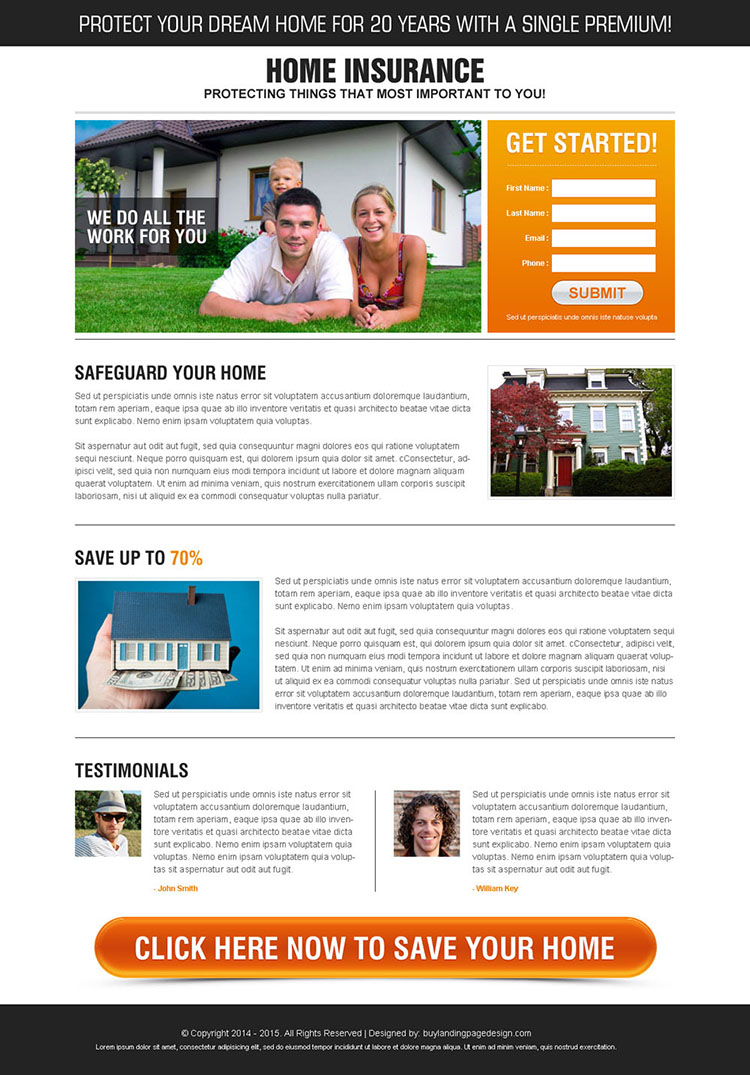 safe guard your home high converting lead gen splash page design