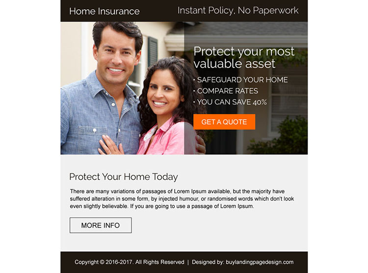 professional home insurance strong call to action ppv landing page