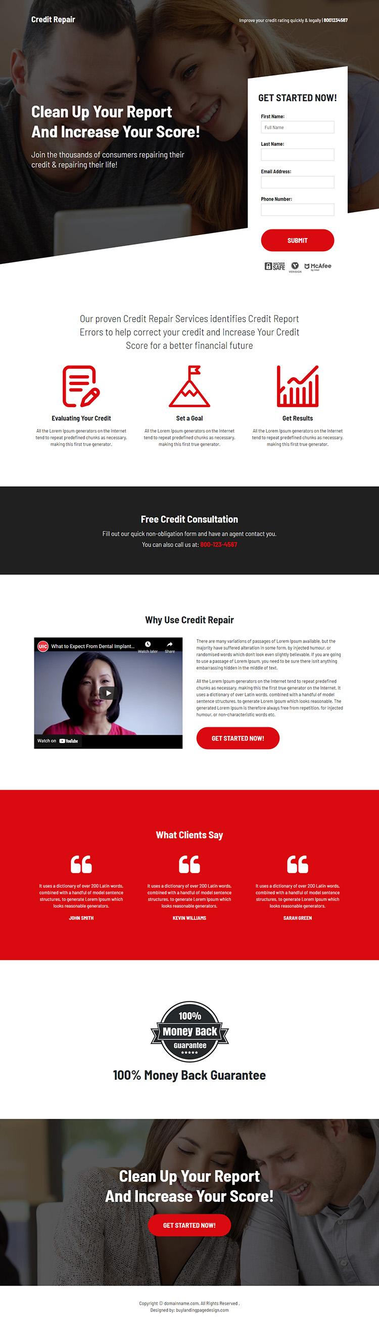 bad credit repair and restoration consultation landing page