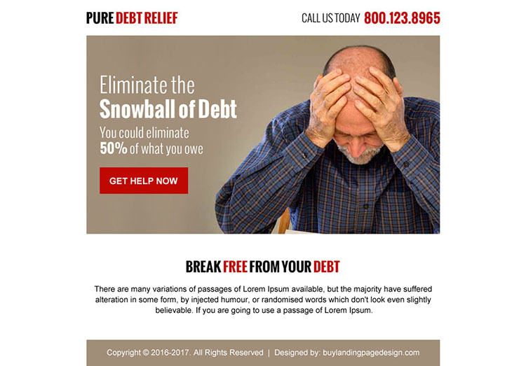 pure debt relief call to action ppv landing page