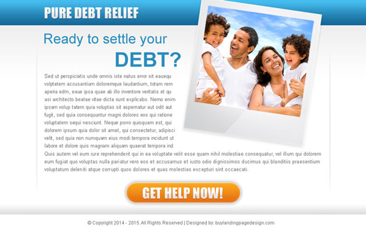 pure debt relief ppv landing page design template for debt settlement business