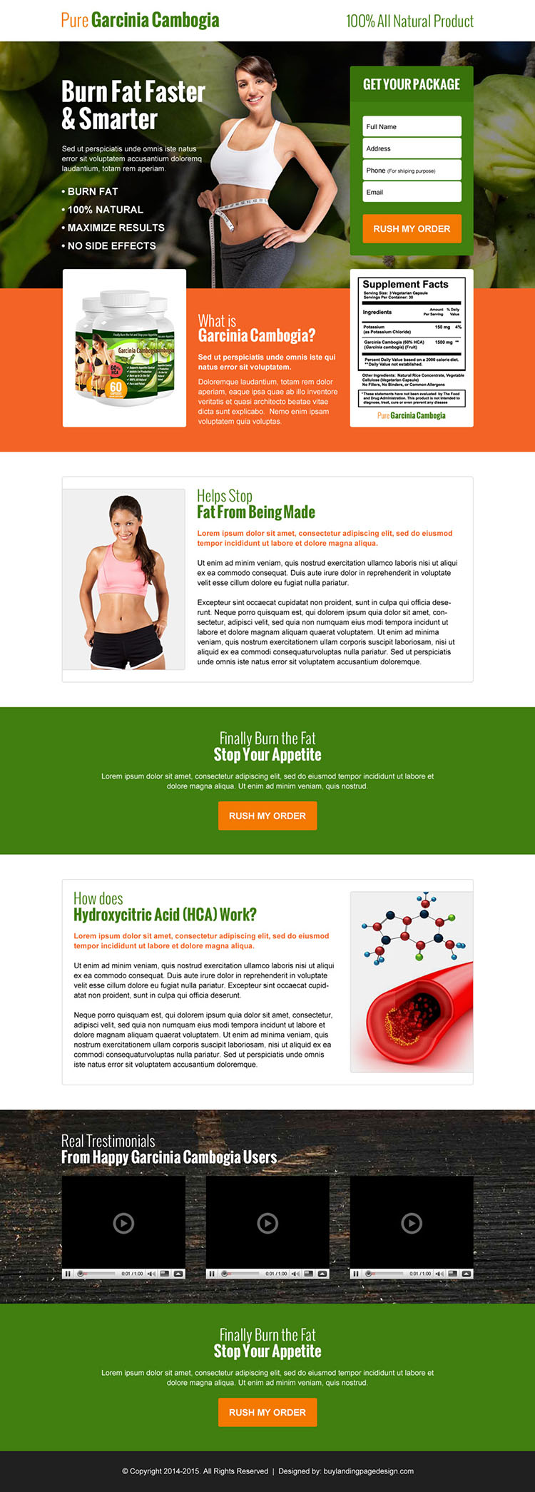 converting pure garcinia cambogia product lead capture landing page design
