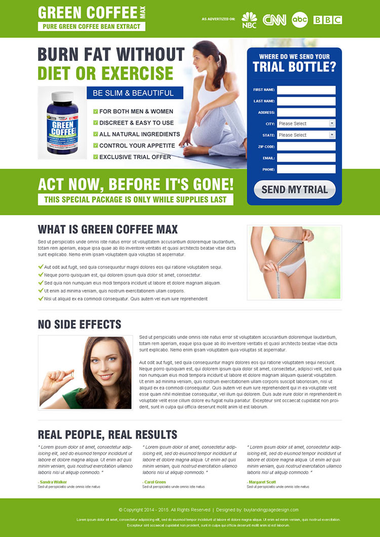 burn fat without diet or exercise green coffee weight loss product lead capture design