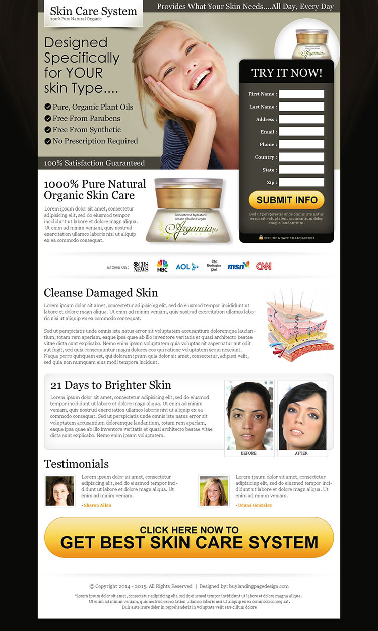 pure natural organic skin care product landing page to boost your traffic and sale of your skin care product