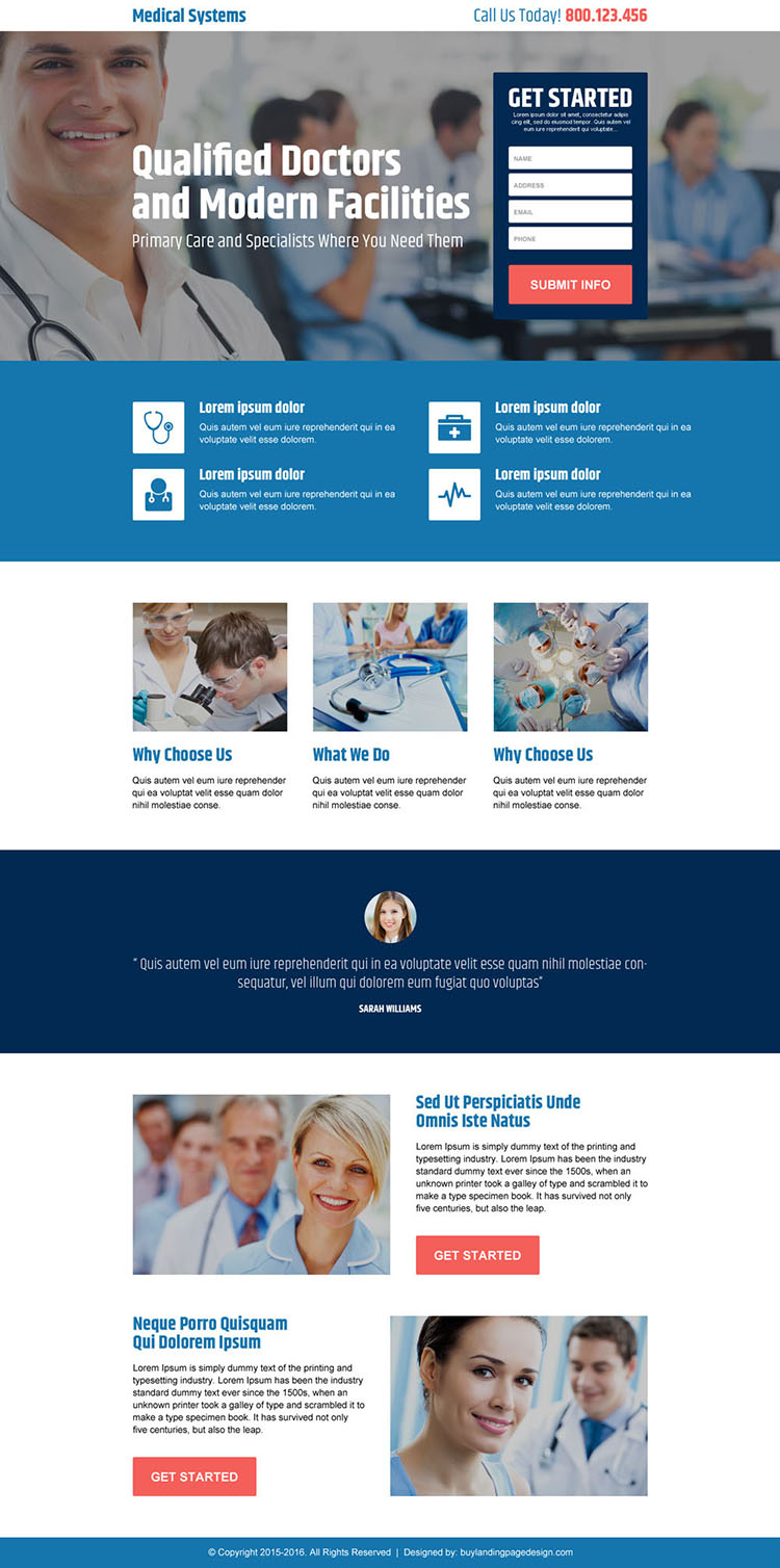 qualified doctor medical lead gen landing page design