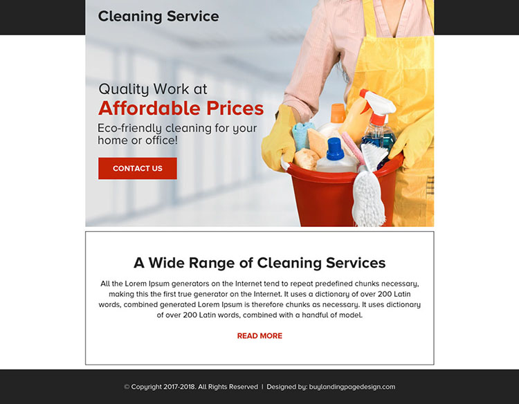 quality cleaning service contact capturing ppv landing page