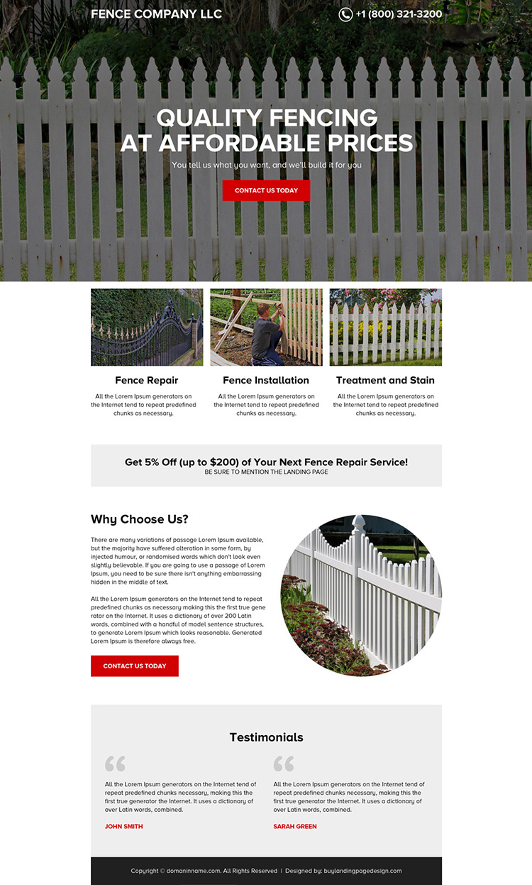 quality fencing services minimal landing page design