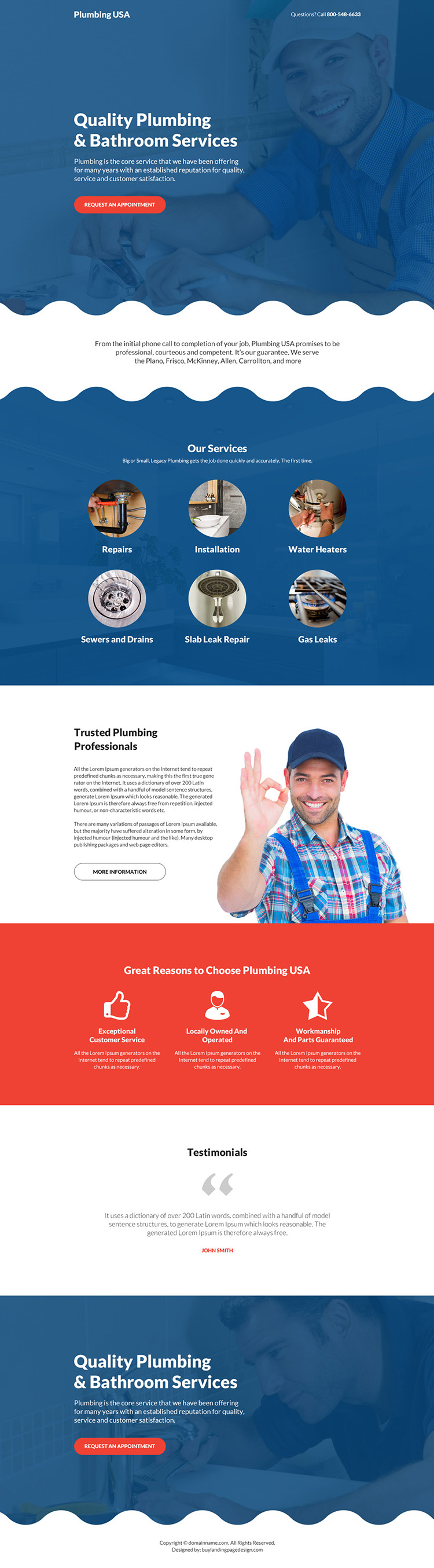 quality plumbing and bathroom services bootstrap landing page