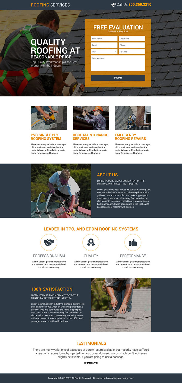 quality roofing lead generating landing page design
