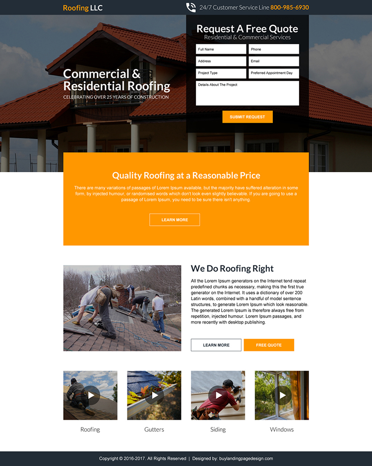 commercial and residential roofing landing page design