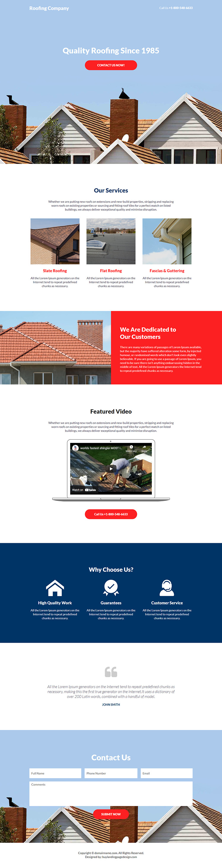 roofing company responsive lead capture landing page design