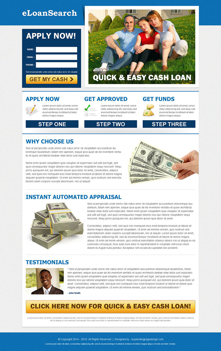 e-loan search clean lead capture landing page template design to increase your conversion