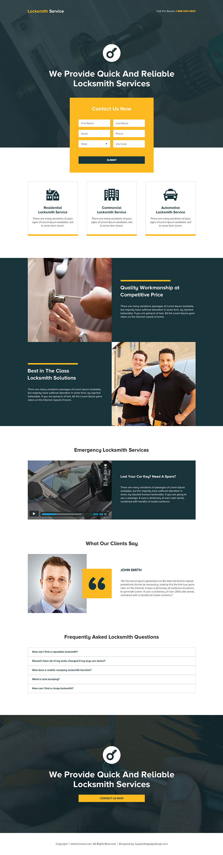 quick and reliable locksmith services landing page