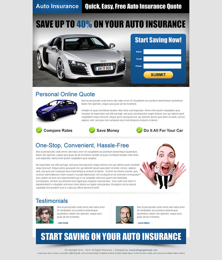 quick easy free auto insurance quotes effective and conversion oriented landing page design