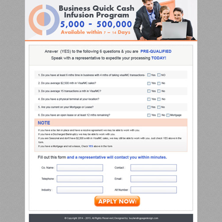 quick cash business lead capture effective landing page design for sale